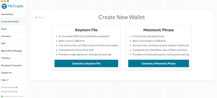 Create new wallet selection