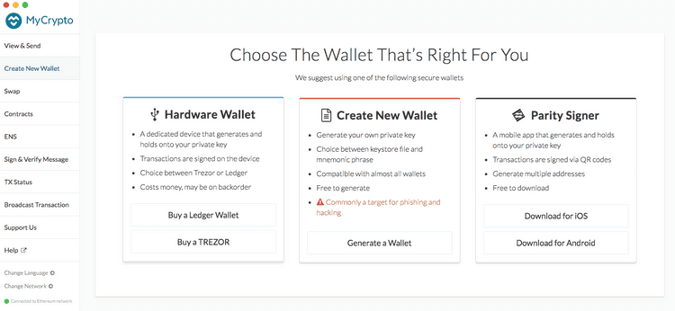 Create new wallet overview
