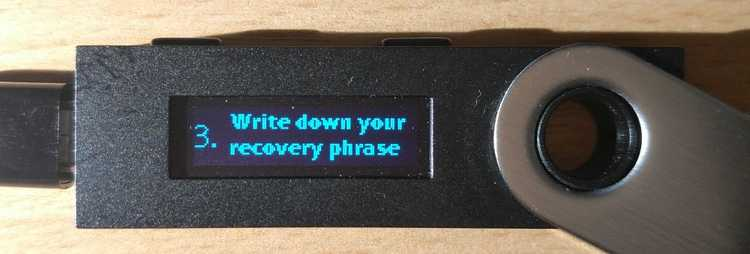 Write down your recovery phrase
