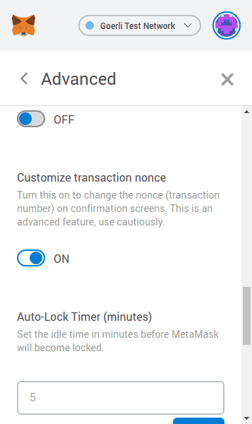"The ""Customize transaction nonce"" setting in MetaMask"